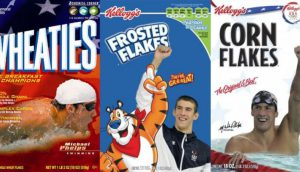 Examples of Cereal Box designs, including Wheaties, Frosted Flakes and Corn Flakes