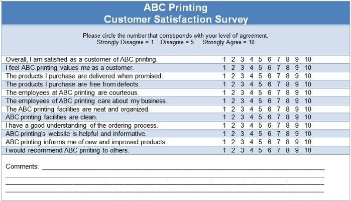 Example of ABC Printing Customer Satisfaction Survey