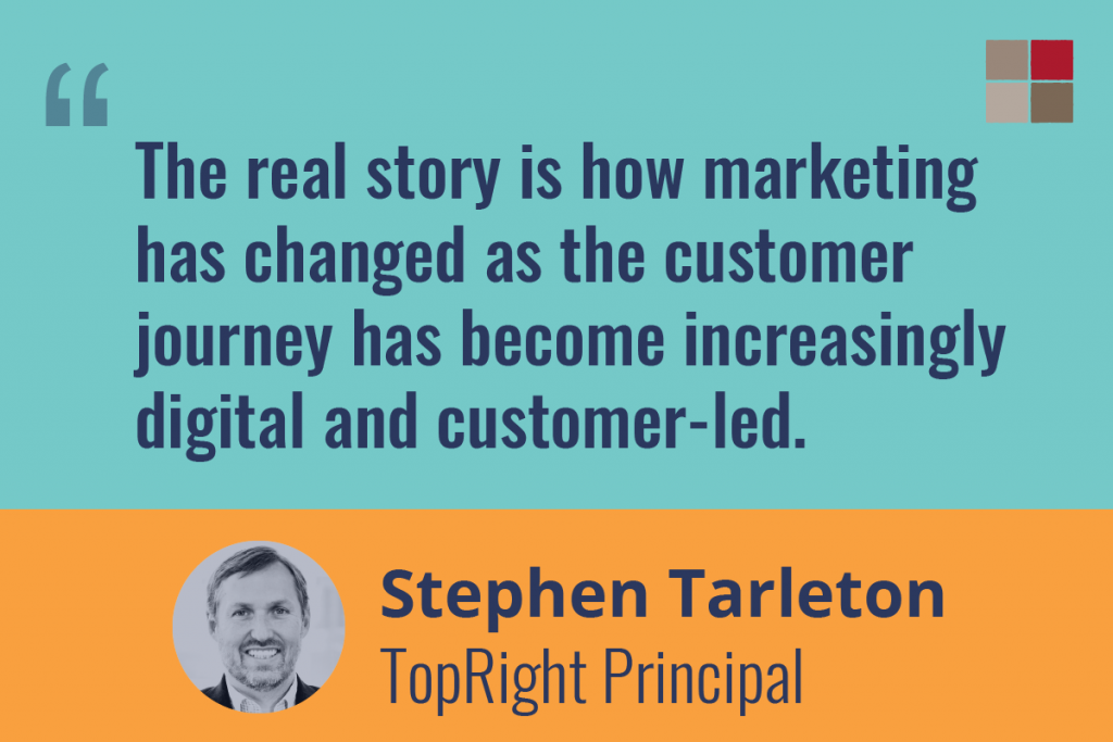 """Quote from Stephen Tarleton: """"Teh real story is how marketing has changed as the customer journey has become increasingly digital and customer-led."""""""